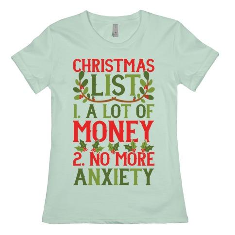 Christmas list graphic t-shirt