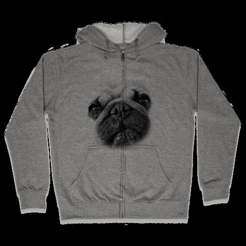 Pug Face Zip Hoodie