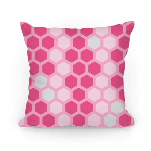 Large Pink Geometric Honeycomb Pattern Pillow
