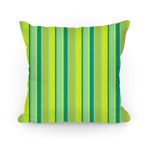 Spring Floral Stripes (Green and Yellow) Pillow
