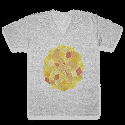 Geometric Summer Blossom V-Neck Tee Shirt