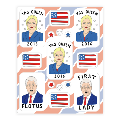 Yas Queen 2016 Hillary Clinton  Sticker/Decal Sheet