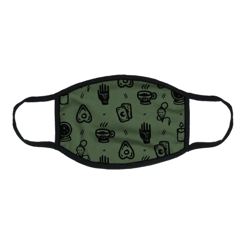 Tools of Divination Pattern Chive Green Flat Face Mask