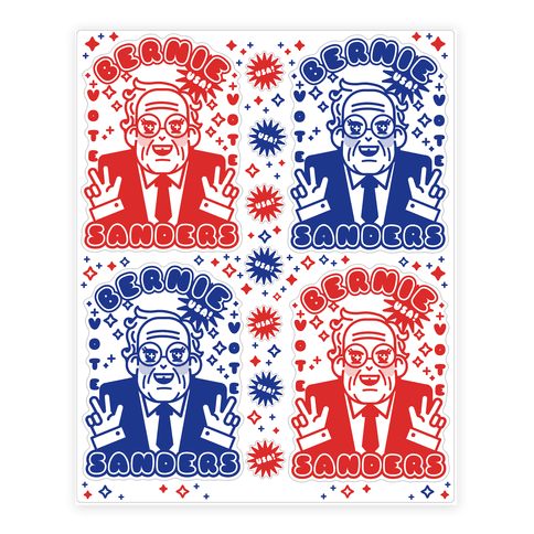 Red White and Blue Anime Bernie  Sticker/Decal Sheet