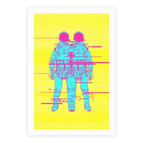 Twin Astronaut Glitch Poster