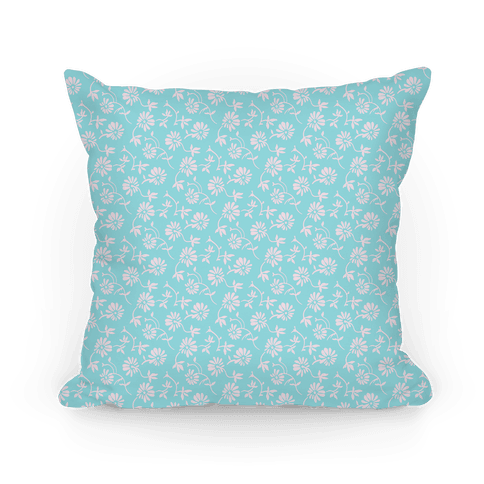 Pretty Little White and Blue Flowers Pattern Pillow
