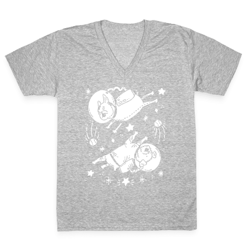 Dogs In Space V-Neck Tee Shirt
