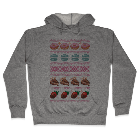 Ugly Dessert Sweater Pattern Hooded Sweatshirt