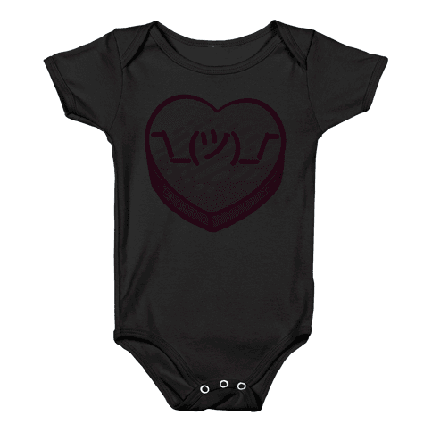 Shrug Emoticon Conversation Heart Baby Onesy