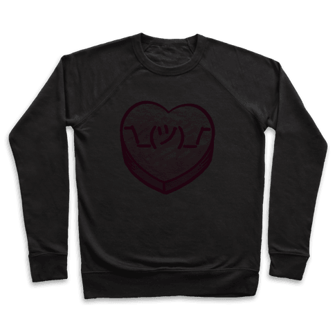Shrug Emoticon Conversation Heart Pullover