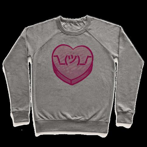 Shrug Emoticon Conversation Heart Pullover