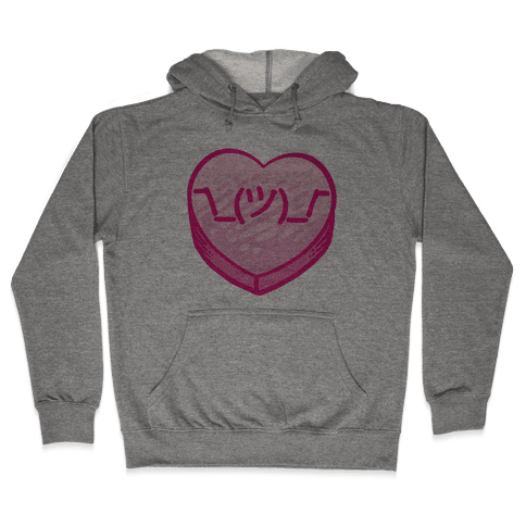 Shrug Emoticon Conversation Heart Hooded Sweatshirt