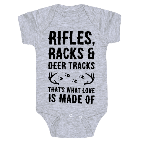 Rifle, Racks & Deer Tracks Baby Onesy