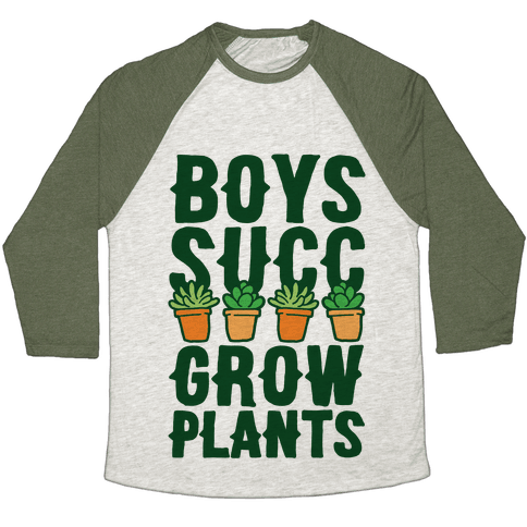 Boys Succ Grow Plants Baseball Tee