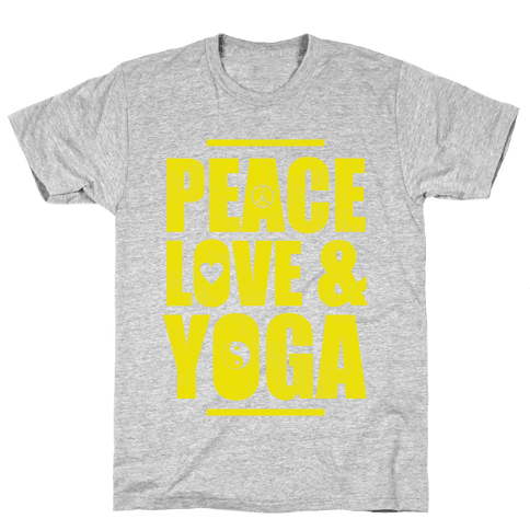 Peace Love Yoga Mens T-Shirt