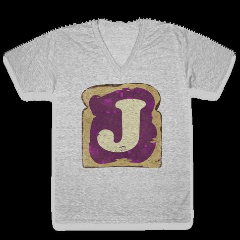 PB and J (jelly) V-Neck Tee Shirt