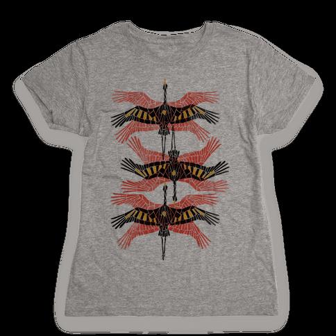 Geometric Deco Flying Cranes Womens T-Shirt
