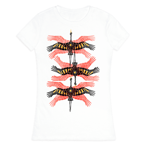 Geometric Deco Flying Cranes Womens T-Shirt