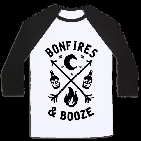 Bonfires & Booze Baseball Tee