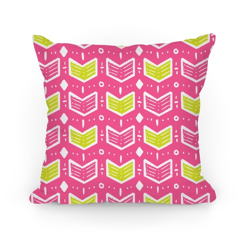 Pink and Green Tribal Doodle Pattern Pillow