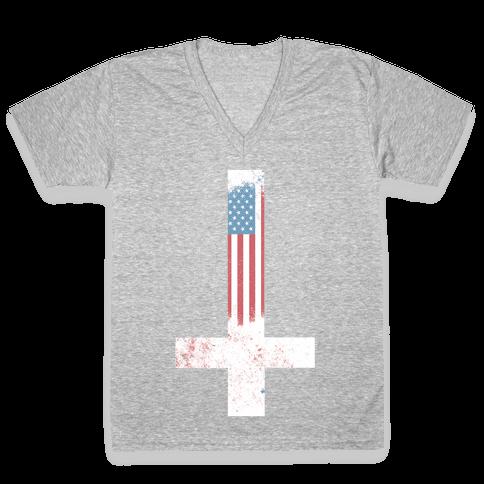 Satanic America V-Neck Tee Shirt