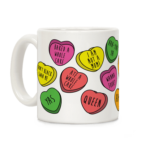 Ilana and Abbi Quotes Conversation Hearts Coffee Mug