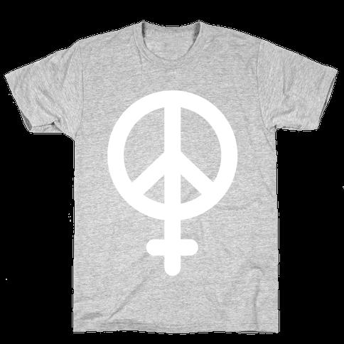 Peace Sign Feminist Mens T-Shirt