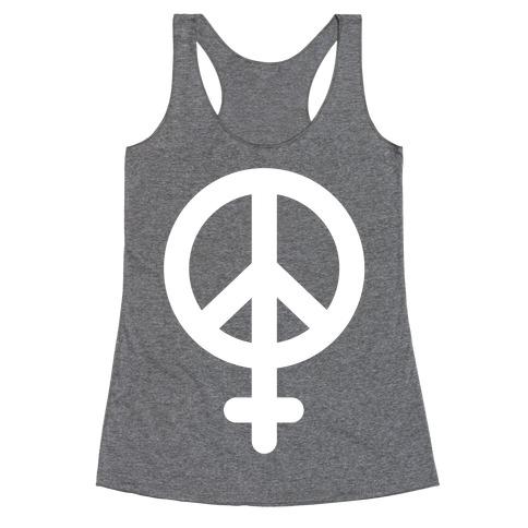 Peace Sign Feminist Racerback Tank Top