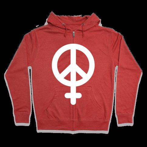 Peace Sign Feminist Zip Hoodie