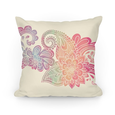Rainbow Lotus Henna Inspiration Pillow