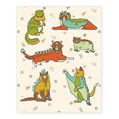 Cats Wearing Dinosaur Costumes Sticker and Decal Sheet