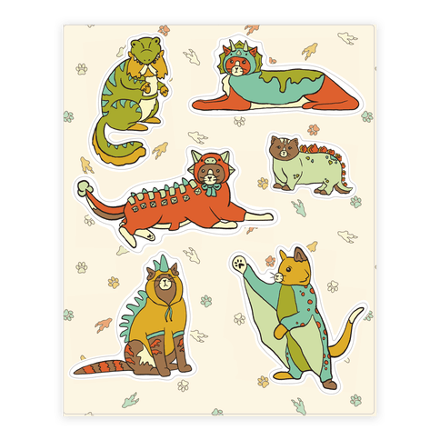 Cats Wearing Dinosaur Costumes  Sticker/Decal Sheet