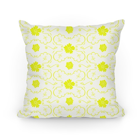 Yellow Floral Wallpaper Pattern Pillow