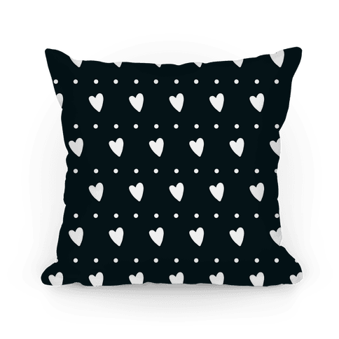 Black and White Hearts and Dots Pattern Pillow