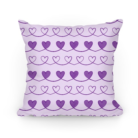 Purple Heart Doodle Pattern Pillow
