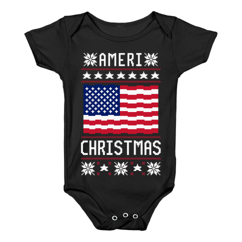 Ameri' Christmas Ugly Sweater Baby Onesy