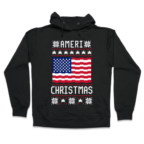 Ameri' Christmas Ugly Sweater Hooded Sweatshirt