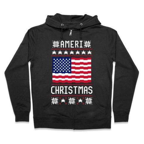 Ameri' Christmas Ugly Sweater Zip Hoodie