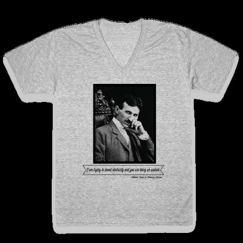 Thomas Edison was an Asshole V-Neck Tee Shirt