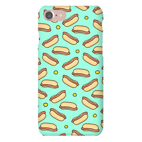 Teal Hot Dog Pattern Phone Case