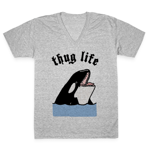 Thug Life Killer Whale V-Neck Tee Shirt