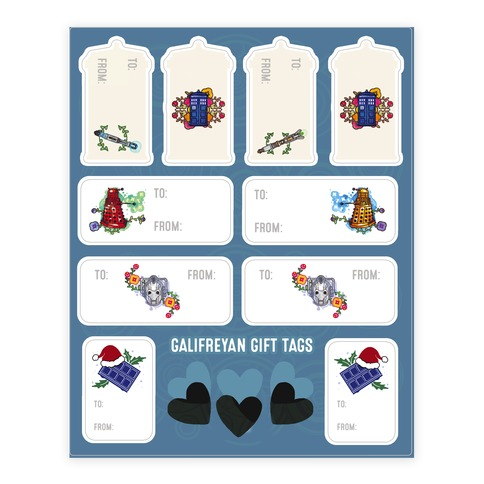 Doctor Who Gift Tags Sticker and Decal Sheet