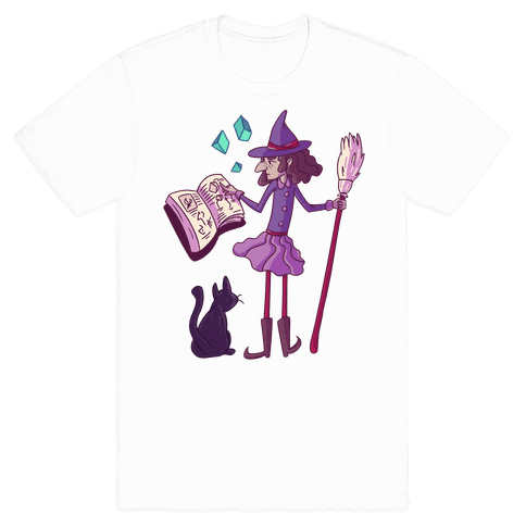 Witch Consults Her Spellbook Mens T-Shirt