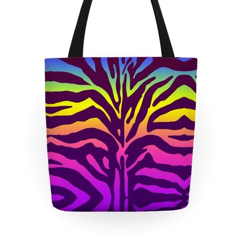Rainbow Zebra Tote