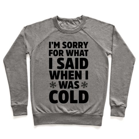 I'm Sorry For What I Said When I Was Cold Pullover