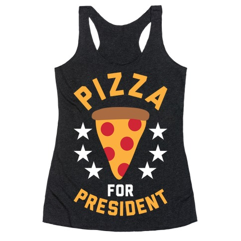 Pizza For President Racerback Tank Top