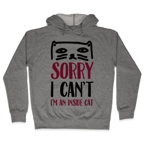 Sorry I Can't I'm Inside Cat Hooded Sweatshirt