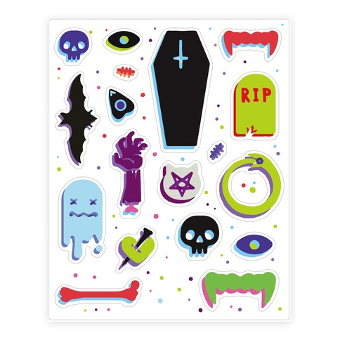 Simple Colorful Halloween Sticker and Decal Sheet