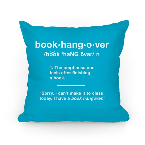 Book Hangover Definition Pillow