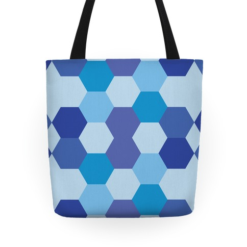 Blue Hexagon Pattern Tote